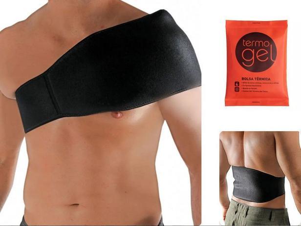Imagem de Kit Cinta Multiuso Para Bolsa Termica Gel Tamanho Grande Preto + Bolsa Gel - Artipé