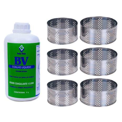 Imagem de Kit Coalho Líquido Bv 1 Litro Com 6 Formas Inox 500g E 1kg
