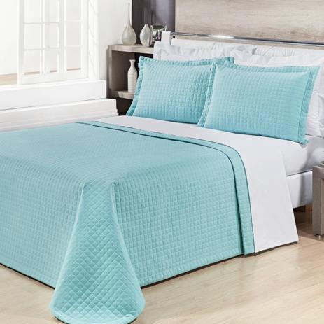 2ac4a66775 Kit Colcha Queen Algodão 200 Fios 3 Peças Prátic Bernadete Casa Azul Tiffany