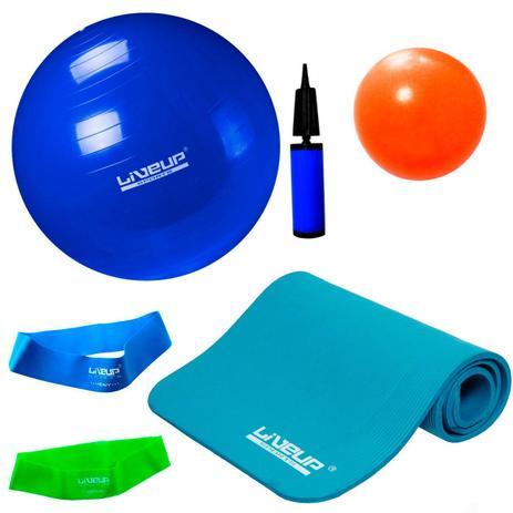 Kit Colchonete + Bola 65 Cm e Mini Bomba + 2 Mini Bands + Overball 25cm  Liveup df01586f0c225