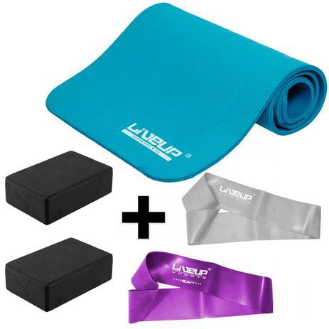 Kit Colchonete para Pilates + 2 Mini Bands + 2 Blocos de Apoio Liveup 65cc11798a934