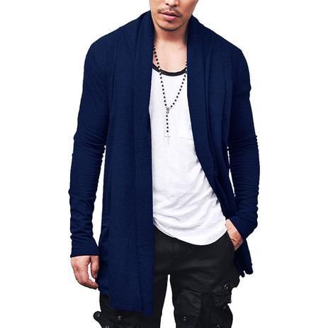 Imagem de Kit com 02 Sobretudo Cardigan Casaco Masculino Blusa Frio Confortável  Slim Fitness