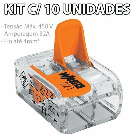 Imagem de Kit Com 10 Conector Wago Emenda 2 Fios Mod 221-412
