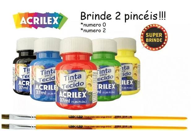 Imagem de Kit Com 10 Tintas De Tecido Acrilex 37ml + Brinde
