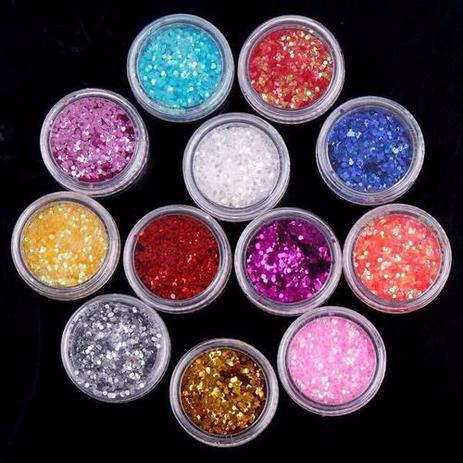 Imagem de Kit Com 12 Cores Glitter - Decoração Unhas Nail Art - Ofe