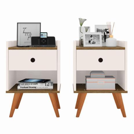 Imagem de Kit com 2 Mesa de cabeceira Retrô Decore 1 Gaveta - Off White com Freijo - RPM Móveis