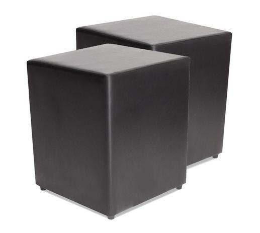 Imagem de Kit com 2 Puff Quadrado Courvin Preto Decorativo 35x35cm