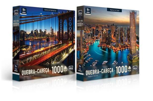 Imagem de Kit com 2 Quebra Cabeças De 1000 Peças Marina De Dubai e Ponte De Manhattan  Paisagens Noturnas Toyster