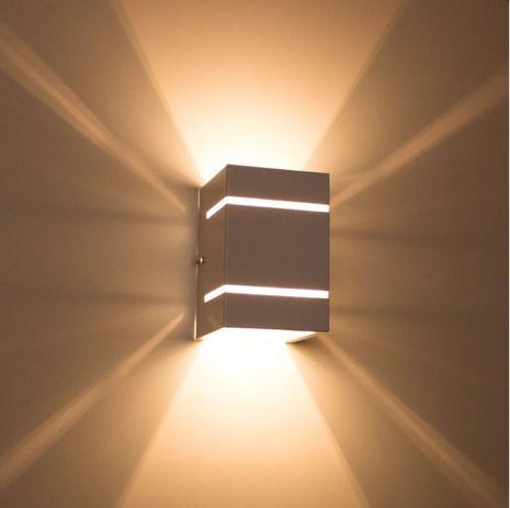Imagem de Kit com 3 Arandelas 2 Focos C/ Frisos E Facho Branca Externa Parede Muro St327