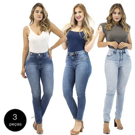 Imagem de Kit com 3 Calças Jeans Feminina Imporium Skinny Cropped Cintura Alta Cós Alto