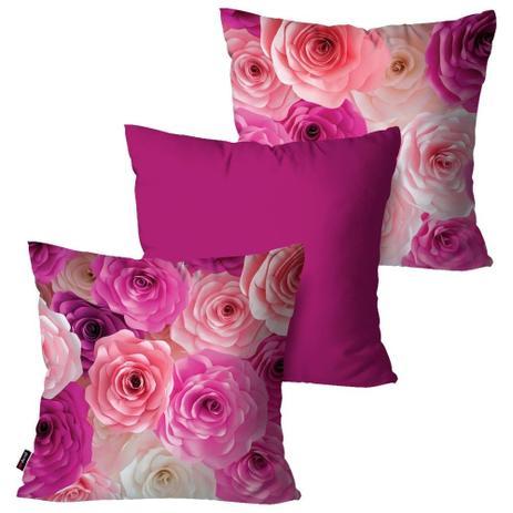 e200115c5 Kit com 3 Capas para Almofadas Decorativas Rosa Flowers - Pump up ...