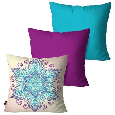 3f0f30f19 Kit com 3 Capas para Almofadas Decorativas Turquesa Sweet Flower - Pump up