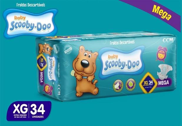 Imagem de Kit Com 3 Pacotes Fraldas Scooby-doo Mega Atacado Barato Revenda Tam XG Com 102 Unidades