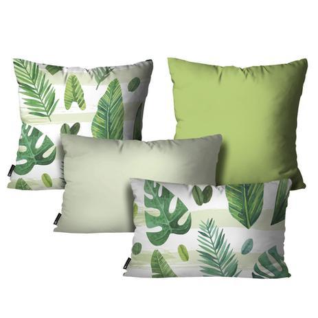 96d132c502026c Kit com 4 Almofadas Floral Verde - Mdecore
