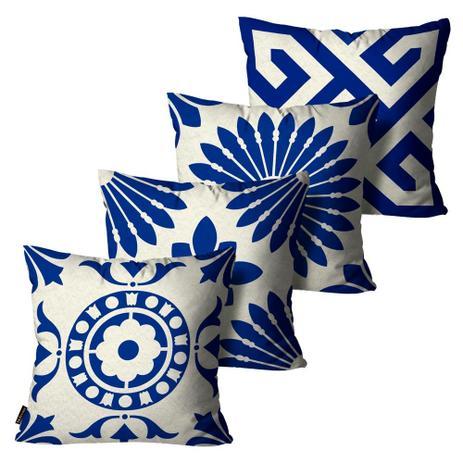 9bec5b0dfebde5 Kit com 4 Almofadas Premium Peluciada Mdecore Azulejo Português Azul