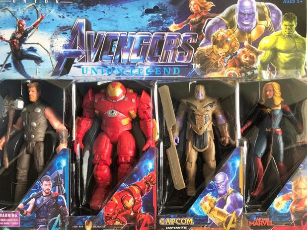 Imagem de Kit com 4 bonecos vingadores - thor - homem de ferro hulkbuster - thanos - capitã marvel