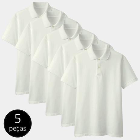 Imagem de Kit com 5 Camisas Polo Part.B Regular Piquet Branca