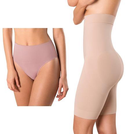 9435fd645 Kit com Cinta Loba Bermuda Skin Compression e Calcinha Loba Redutora Nude  Slim - Lupo