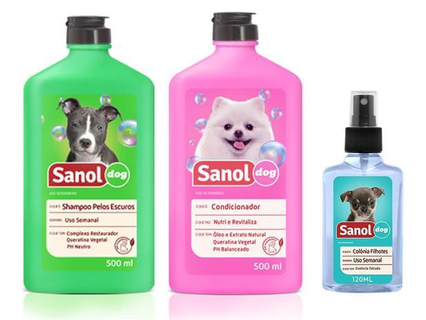 Imagem de Kit completo banho cães: Shampoo para Cães Pelos Escuros + Condicionador Revitalizante + Perfume colônia fragrância Baby- Sanol Dog