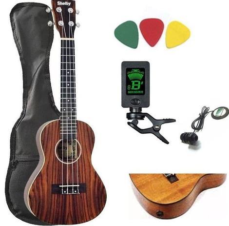 Imagem de Kit Completo Ukulele Eletrificado Concert Shelby Mogno Su23r