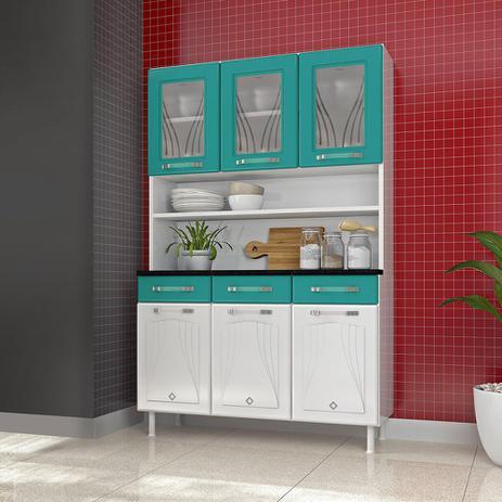 Imagem de Kit Cozinha 3 Portas Vidro 3 Gavetas Telasul Star