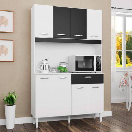 Imagem de Kit Cozinha Compacta Cássia 8 Portas 1 Gaveta Branco/Preto - Poquema
