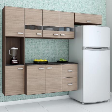 Imagem de Kit Cozinha Compacta Julia Armário Suspenso e Balcão 4 Peças 8 Portas 2 Gavetas Cappuccino/Amêndoa - Poquema