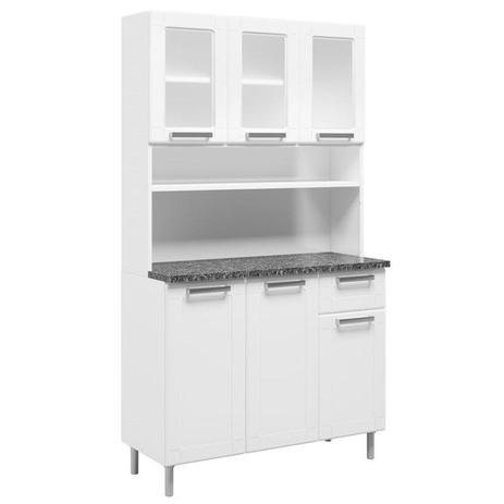 Imagem de Kit Cozinha Compacta Múltipla Aço Vidro 6 Portas 6143 Branco - Bertolini