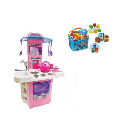 Imagem de Kit cozinha infantil completa  big star + super feirinha infantil usual