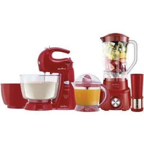 Imagem de Kit  Cozinha Liquidificador Batedeira Espremedor Vermelho Britania 110v