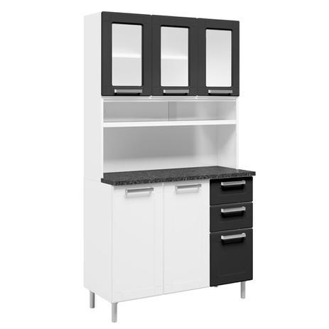 Imagem de Kit Cozinha Multipla 6 PT Branco e Preto