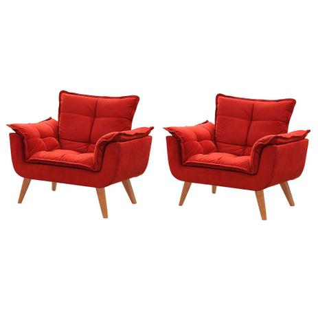 Imagem de Kit de 2 Poltronas Decorativas Opala Vermelha