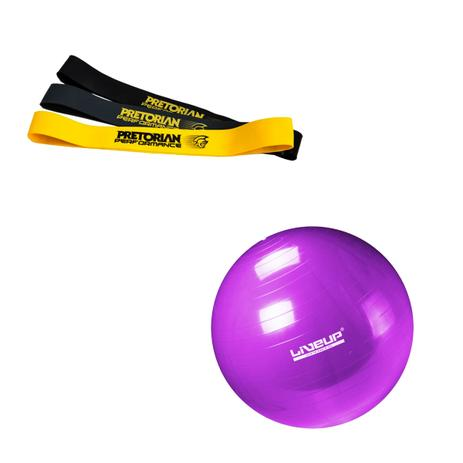 6d77bb465 Kit de 3 Mini Bands PRO Pretorian Performance MB-PP + Bola Suíça Liveup para  Pilates 55cm LS3221 55