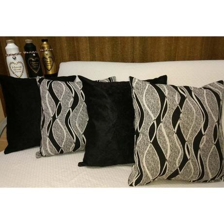 20e4f21679194c Kit de Almofadas Jacquard/Suede com 04 Peças 43cm x 43cm cada c/ Enchimento  - Geometrico/Preto - Ingrid bordados
