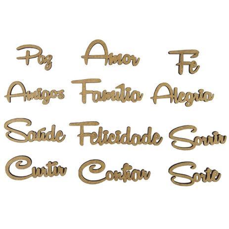 Imagem de Kit de Apliques Palavras em MDF com 12 Peças - Palácio da Arte