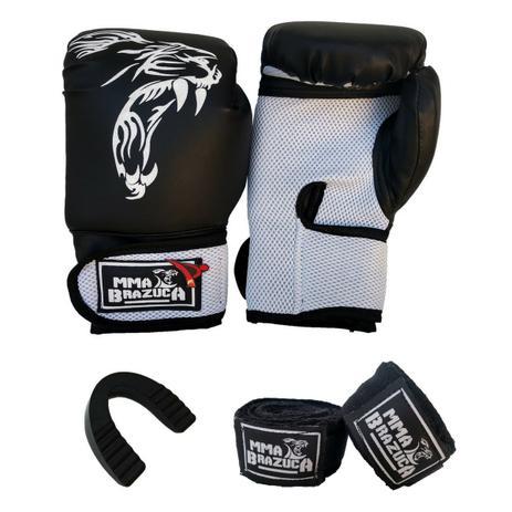 5226a31fe Kit de Boxe   Muay Thai 14oz - Preto com Branco - MMA Brazuka - Kit ...