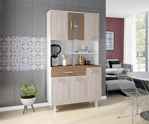 Imagem de Kit de Cozinha Atenas Branco Elmo Montana 6 portas - Madine Móveis
