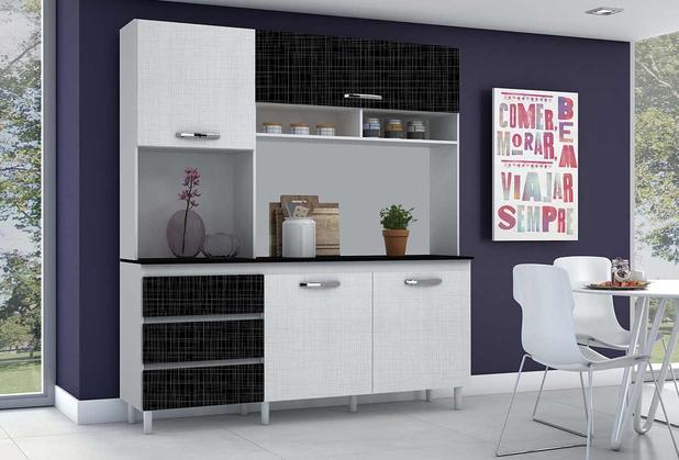 c352d491a5b Kit de Cozinha Florença Incorplac Branco Gelo Negro - Armário de ...