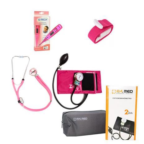 Imagem de Kit de Enfermagem Rosa Pink Estetoscópio Duplo Rappaport Aparelho de Pressão Termômetro Digital e Garrote