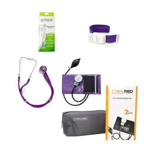 Imagem de Kit de Enfermagem Roxo Estetoscópio Duplo Rappaport Aparelho de Pressão Termômetro Digital e Garrote