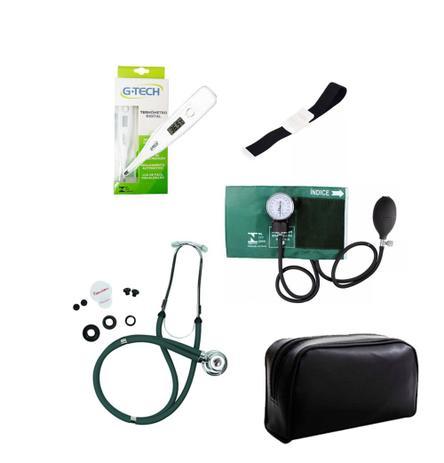 Imagem de Kit de Enfermagem Verde Com Estetoscópio Duplo Aparelho de Pressão Aparelho de Pressão Termômetro Digital e Garrote