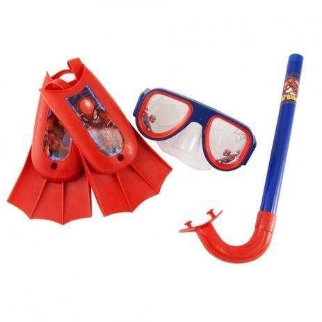 Imagem de Kit de mergulho infantil snorkel mascara respirador e pés nadadeiras meninos super herois homem aran
