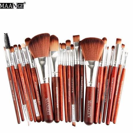 Imagem de Kit de pincéis para maquiagem maange 22 peças (marrom/prata)