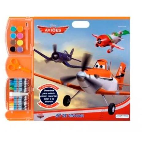 kit de pintura infantil aviões desenhos colorir multikids