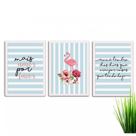 cf51feb0c Kit de Quadros Decorativos 3 Peças Flamingo Mais Amor Los Quadros Branco