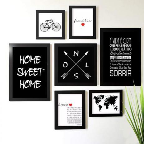 72eb26f3d Kit de Quadros Decorativos 7 Peças Amor Família Home Sweet Home Los Quadros  Preto