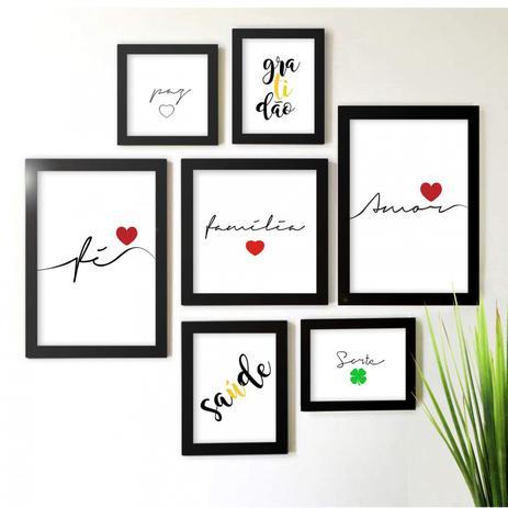 2a06dd2a6 Kit de Quadros Decorativos 7 Peças Família Amor Fé Los Quadros Preto ...