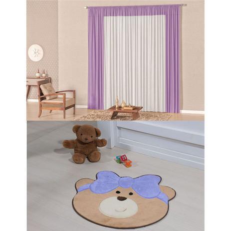 Imagem de Kit Decoração Luna p/ Quarto Infantil = Cortina Malha 2 Metros + Tapete Pelúcia Ursa Laço - Lilás