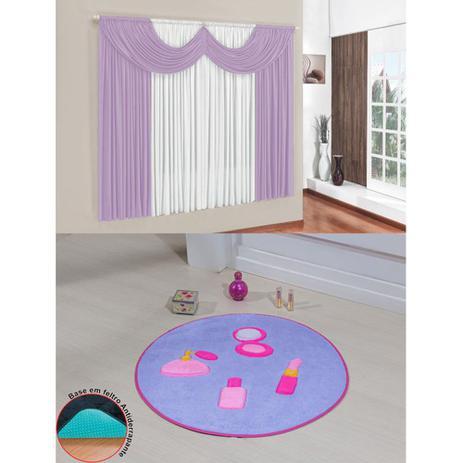 Imagem de Kit Decoração Mimos Quarto Infantil = Cortina Malha 2 Metros + Tapete Pelúcia Maquiagem - Lilás