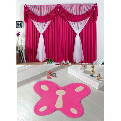 428f267d26 Kit Decoração p  Quarto Infantil   Cortina Jéssica 2 Metros + Tapete  Pelúcia Borboleta - Pink Rosa - Guga tapetes
